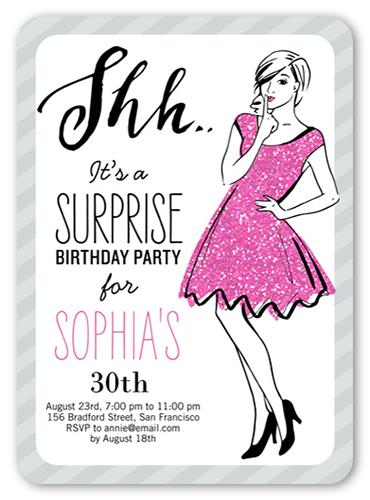 Shh It's A Surprise 5x7 Invitation Card | Birthday ...