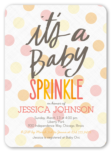 Baby Sprinkle Girl 5x7 Greeting Card | Baby Shower ...