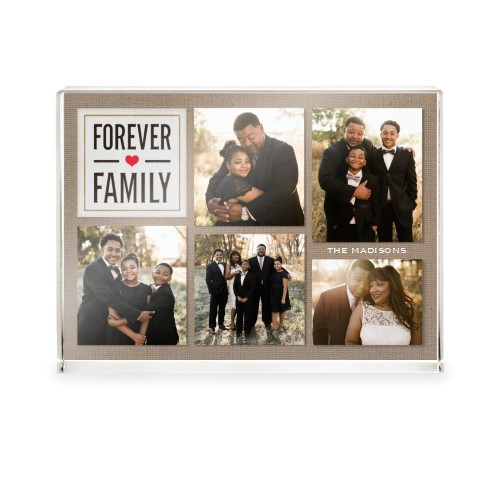 Textured Forever Family Acrylic Block, 5 x 7 inches, Beige