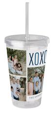 family love hugs acrylic tumbler with straw
