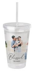 blessed weathered wood acrylic tumbler with straw