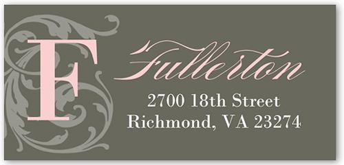Flourish Monogram Girl Address Label