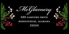 holly berry monogram address label