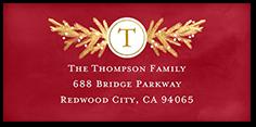 gilded merry monogram address label