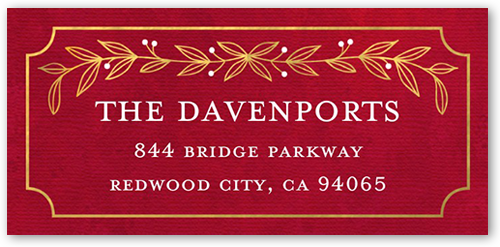 Gilded Merry Berries Address Label