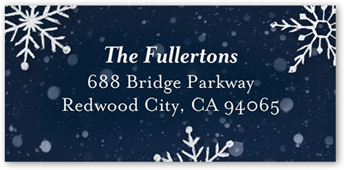 Overlaid Snowflakes Address Label