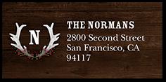 antler monogram address label