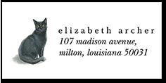 black cat love address label