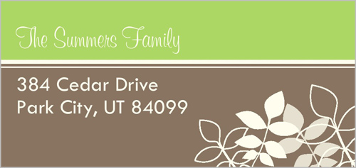 Lovely Branches Green Address Label