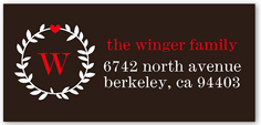 wreathed monogram address label