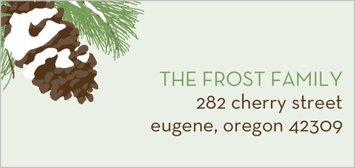 Snow Dusted Pinecone Address Label