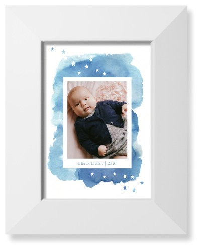 Watercolor Stars Art Print, White, Pearl Shimmer Card Stock, 5x7, Blue