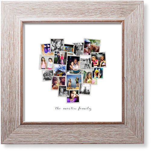 Tilted Heart Collage Art Print, Rustic, Pearl Shimmer Card Stock, 8x8, White