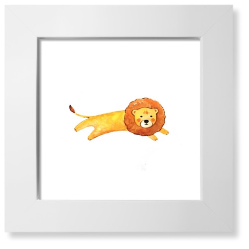 Lion Watercolor Art Print, White, Pearl Shimmer Card Stock, 8x8, Multicolor