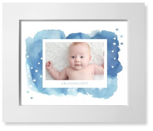 Watercolor Stars Landscape Art Print, White, Pearl Shimmer Card Stock, 8x10, Blue