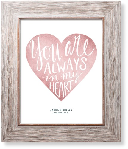 Princess Always In My Heart Art Print, Rustic, Pearl Shimmer Card Stock, 8x10, Pink