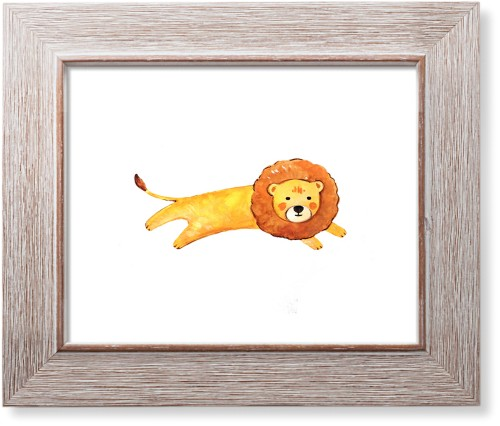 Lion Watercolor Art Print, Rustic, Pearl Shimmer Card Stock, 8x10, Multicolor