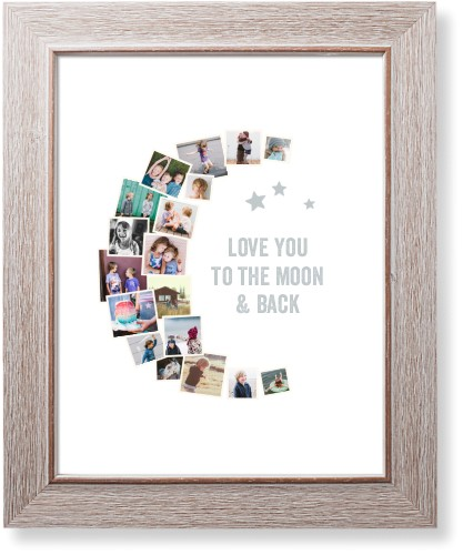 To The Moon Collage Art Print, Rustic, Signature Card Stock, 11x14, White