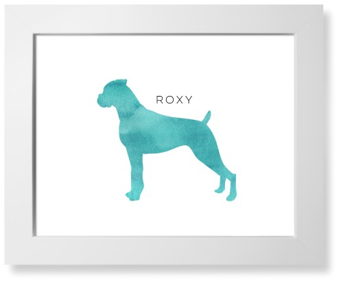 Playful Patterns Watercolor Boxer Art Print, White, Signature Card Stock, 11x14, Blue