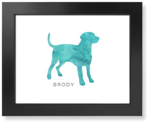 Playful Patterns Watercolor Dog Art Print, Black, Signature Card Stock, 11x14, Blue