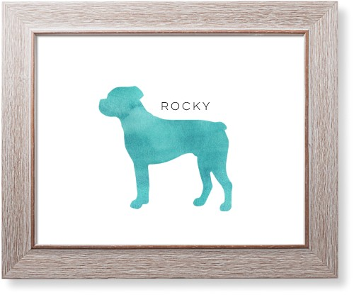 Playful Patterns Watercolor Rottweiler Art Print, Rustic, Signature Card Stock, 11x14, Blue