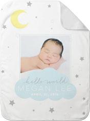 moon and stars twinkle baby blanket