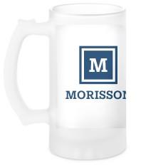 keyline monogram glass beer stein