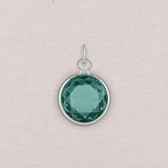 silver birthstone crystal charm