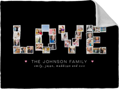 love collage fleece photo blanket