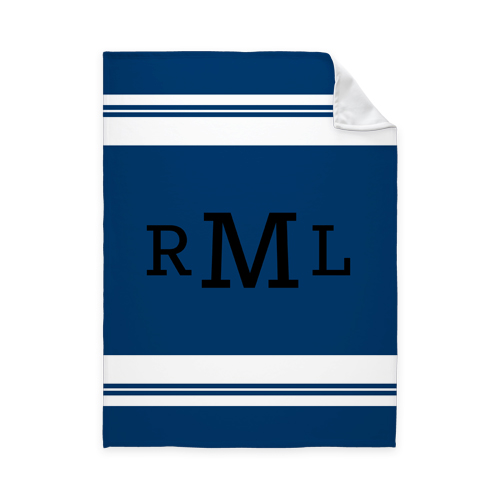 Simple Stripe Monogram Fleece Photo Blanket, Fleece, 50 x 60, Blue