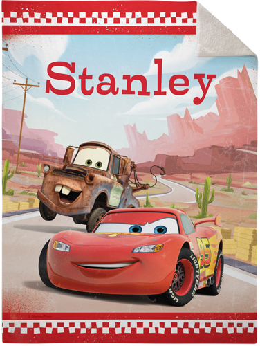 Disney Cars Mcqueen And Mater Fleece Photo Blanket, Sherpa, 50 x 60, Red