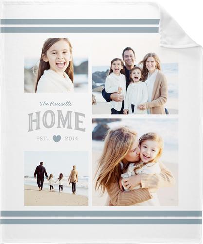 Happy Home Collage Fleece Photo Blanket, Fleece, 50 x 60, Grey