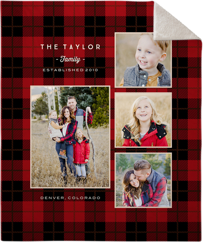 Rustic Plaid Red Fleece Photo Blanket