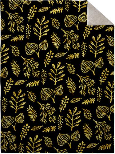 Black Floral Fleece Photo Blanket, Sherpa, 60 x 80, Multicolor