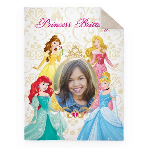 Disney Princesses Fleece Photo Blanket, Sherpa, 60 x 80, Yellow