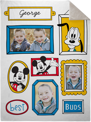 Disney Mickey And Friends Fleece Photo Blanket, Sherpa, 60 x 80, Blue