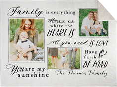 family sentiment fleece photo blanket