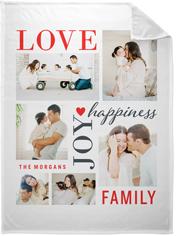 love joy family fleece photo blanket