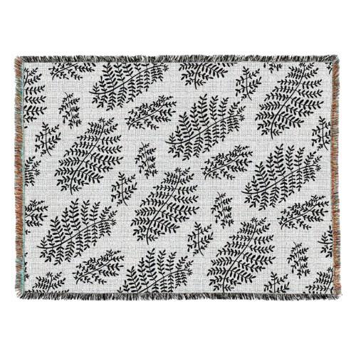 Black Fern Woven Photo Blanket, 54 x 70, Multicolor