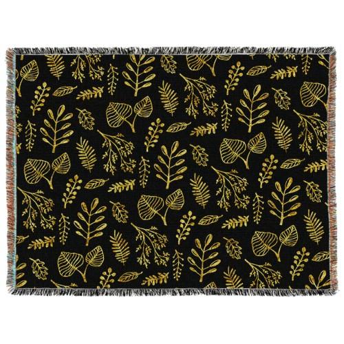 Black Floral Woven Photo Blanket, 60 x 80, Multicolor