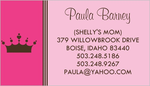 Pink Princess Calling Card