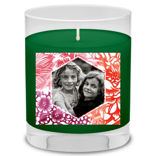 Floral Frame Candle, Evergreen Forest, Multicolor