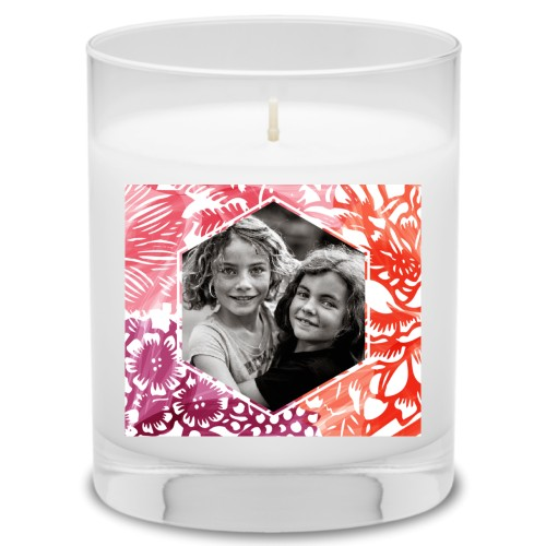 Floral Frame Candle, Uncscented, Multicolor