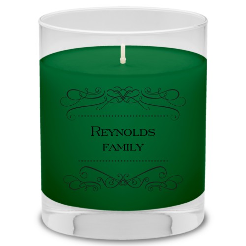 Flourished Family Candle, Evergreen Forest, Black