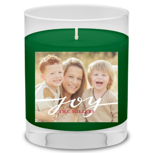 Encased In Joy Candle, Evergreen Forest, White