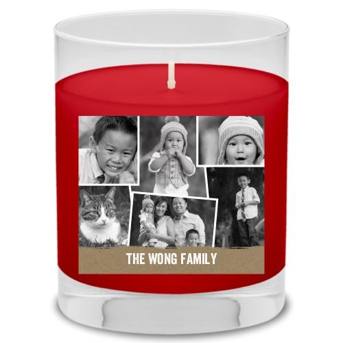 Tilty Burlap Collage Candle, Fireside Spice, Beige