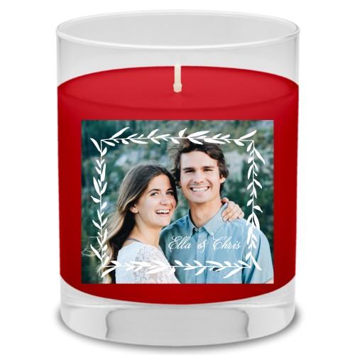 Foliage Frame Candle, Fireside Spice, White