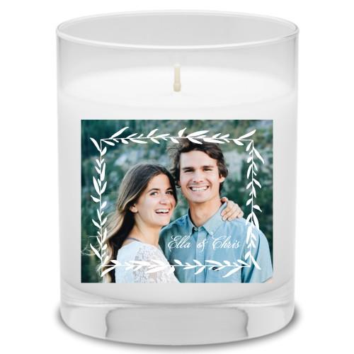 Foliage Frame Candle, Ocean Breeze, White
