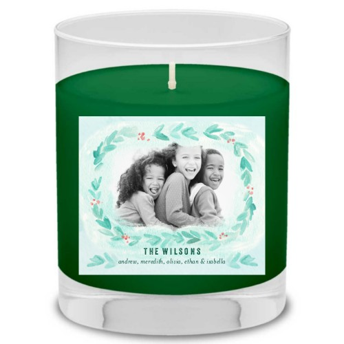 Foliage Watercolor Candle, Evergreen Forest, Blue