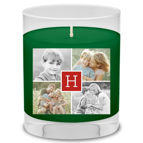 Gallery Monogram Candle, Evergreen Forest, Red
